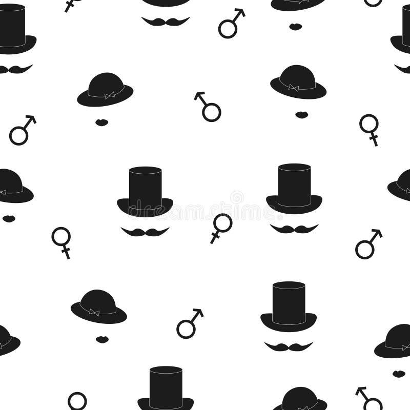 Symbolisch man en vrouwen naadloos patroon royalty-vrije illustratie