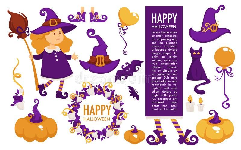 Symbolische Elemente glücklicher Halloween-Feier, Ikonen und Textvektor vektor abbildung