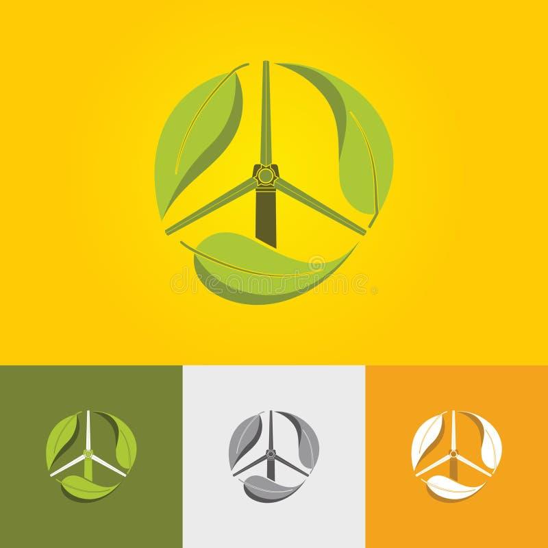 Symbolische grüne Energieikone mit Windmühle und -blatt stock abbildung