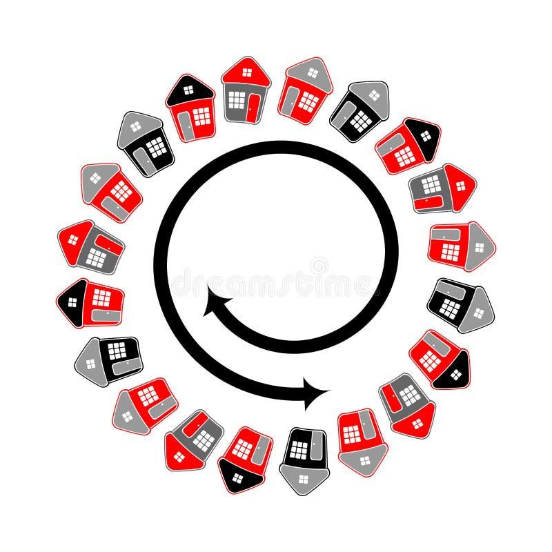 Symbolische huizen in cirkelvorm Spiraalvormige lijnmotie stock illustratie