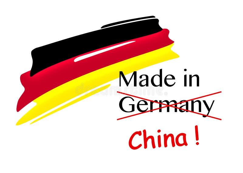Symbolische Illustration für Produktpiraterie, hergestellt in Deutschland, geschmiedet durch Porzellan lizenzfreie abbildung