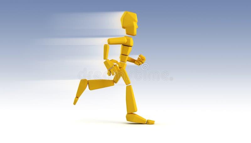 Symbolische lopende 3d mens stock illustratie