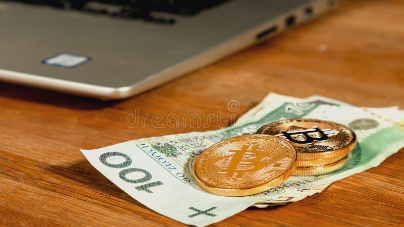 Symbolische Münzen von bitcoins auf polnische Zlotybanknoten, Laptop auf Hintergrund Austausch bitcoin Bargeld für einen Zloty lizenzfreie stockbilder
