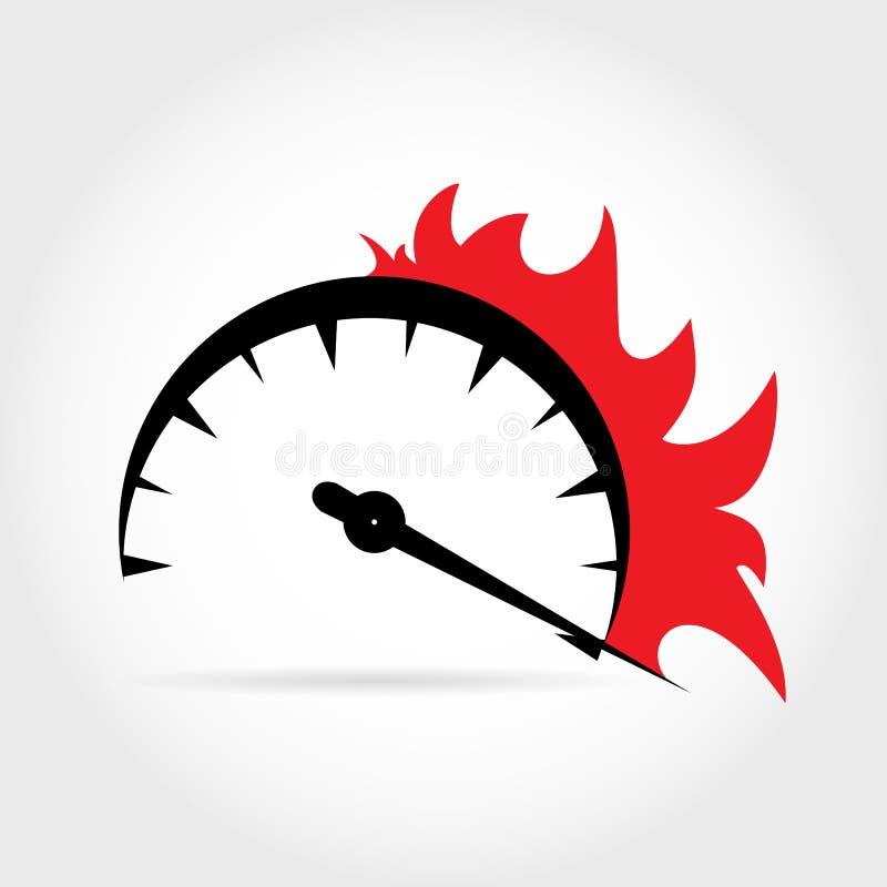 Symbolische Zunahme der Geschwindigkeit auf dem Geschwindigkeitsmesser mit dem Aufkommen des Feuers lizenzfreie abbildung