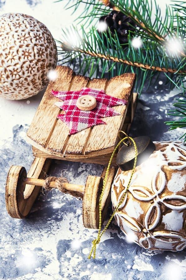 Symbolischer Weihnachtspferdeschlitten stockbilder