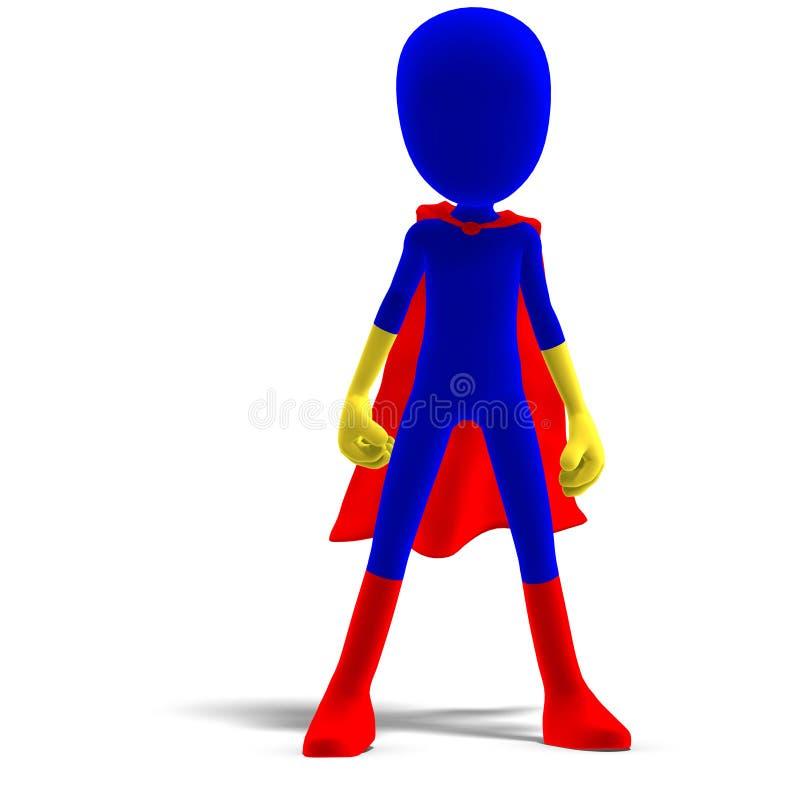 Symbolisches 3d männliches Toon Zeichen als Superheld stock abbildung