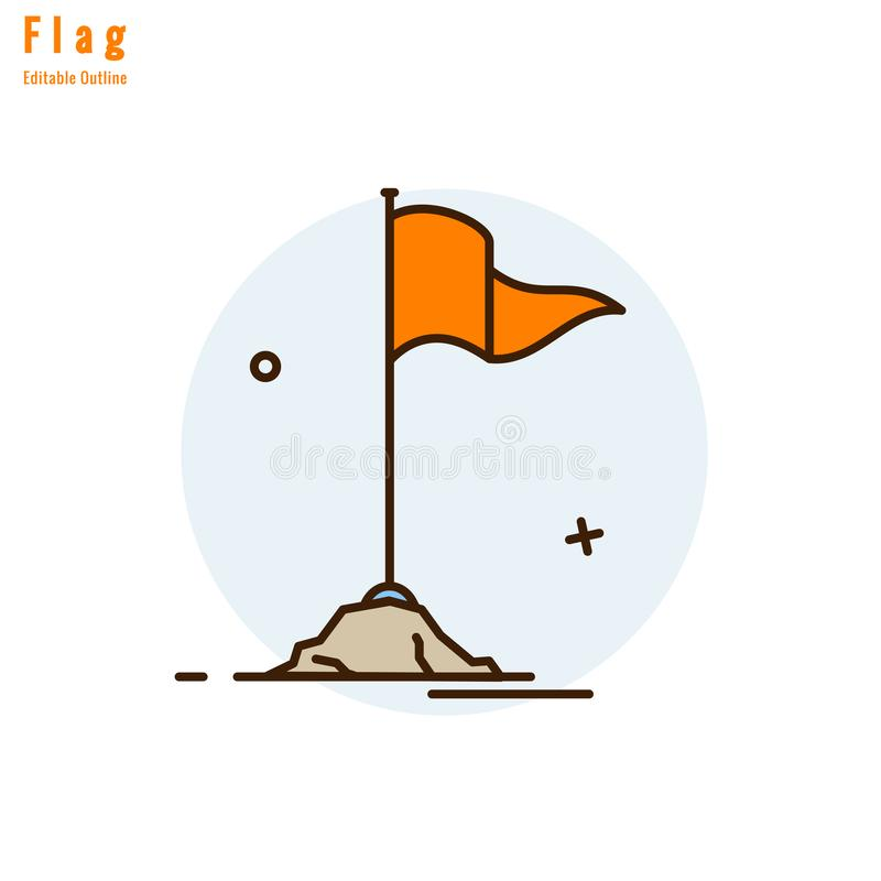 Symboliseert de tempel Oranje Vlag, Vlagpictogram, godsdienstige cultuur en spiritualiteit, Dunne lijn editable slag stock illustratie