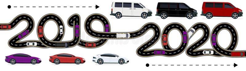 2019-2020 Symboliserar övergången till det nya året Rörelsen av bilar visas Vägen med stiliserad teckning royaltyfri illustrationer