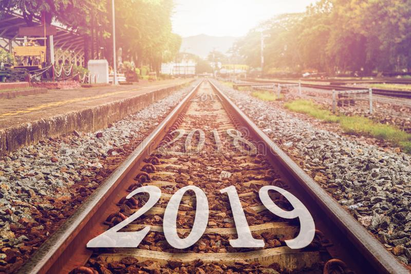 2019 symbolises the start into the new year.Start number on the. Way to the train future royalty free stock photos