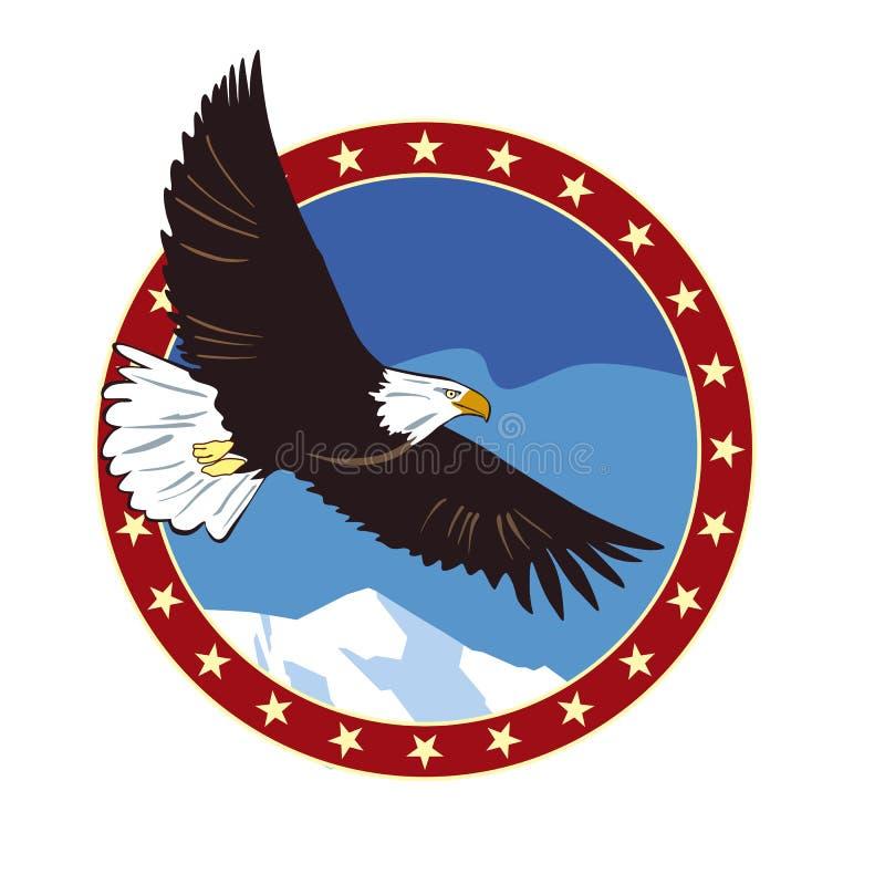 Symbolisez l'aigle de vol contre le ciel bleu et les montagnes dans l'anneau des étoiles illustration stock