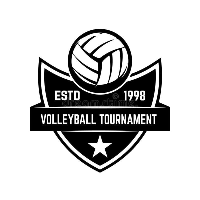 Symbolisez le calibre avec la boule de volleyball d'isolement sur le fond blanc Concevez l'élément pour le logo, label, emblème,  illustration stock