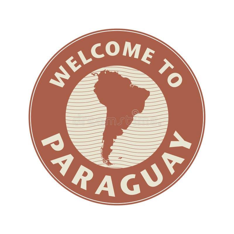 Symbolisez ou emboutissez avec l'accueil des textes au Paraguay illustration de vecteur