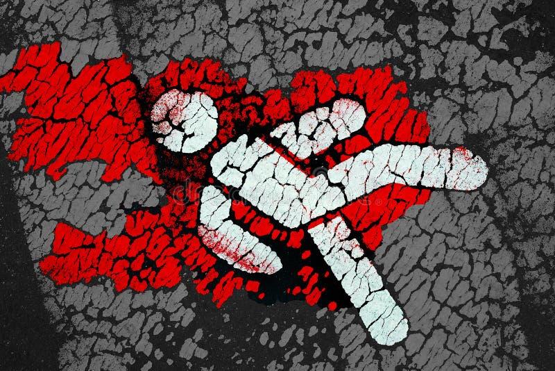 Symbolisk fot- symbol med rött blod som fläckar royaltyfria foton