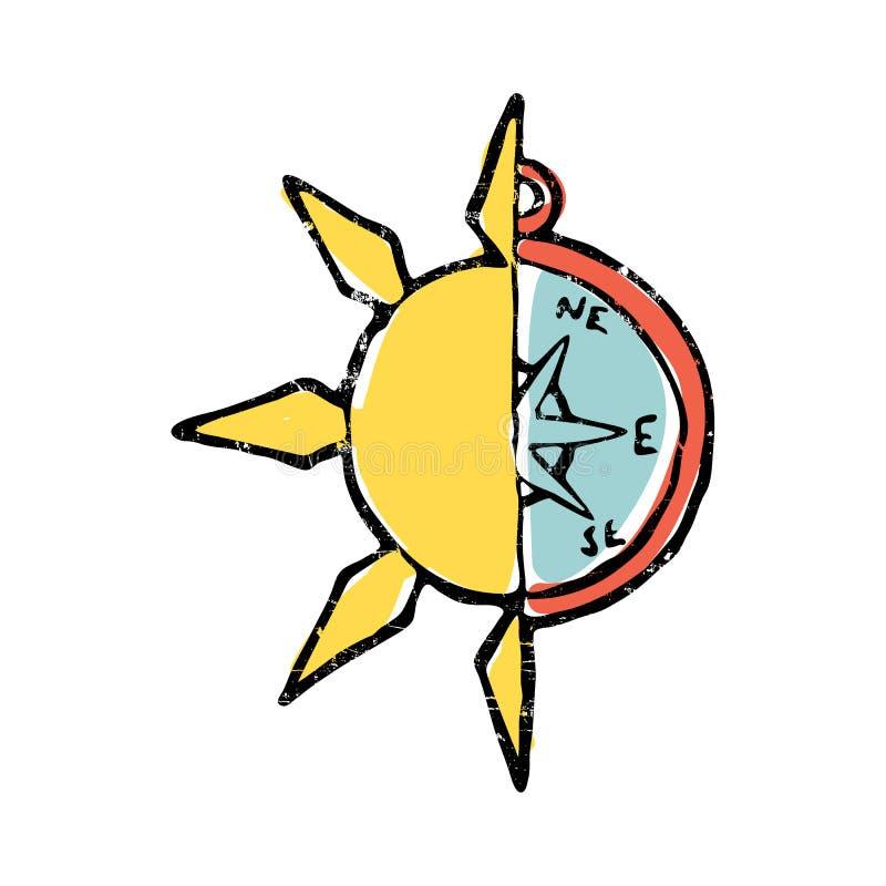Symbolisk illustration av den halva solen, halv kompass royaltyfri illustrationer