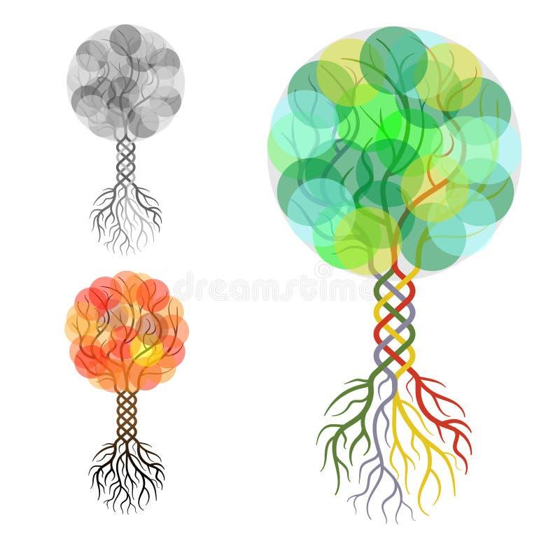 Symbolisk kontur av ett träd royaltyfri illustrationer