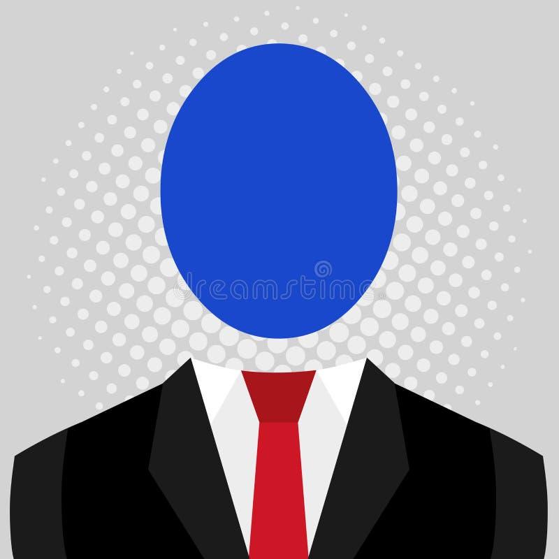 Symbolisk teckning av mannen i dr?kt och bandet med det stora ovala ansiktsl?sa huvudet Symboliskt manligt diagram i formell kl?d royaltyfri illustrationer