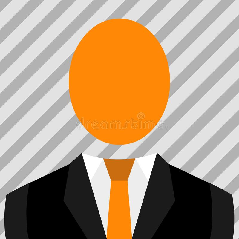 Symbolisk teckning av mannen i dr?kt och bandet med det stora ovala ansiktsl?sa huvudet Symboliskt manligt diagram i formell kl?d vektor illustrationer