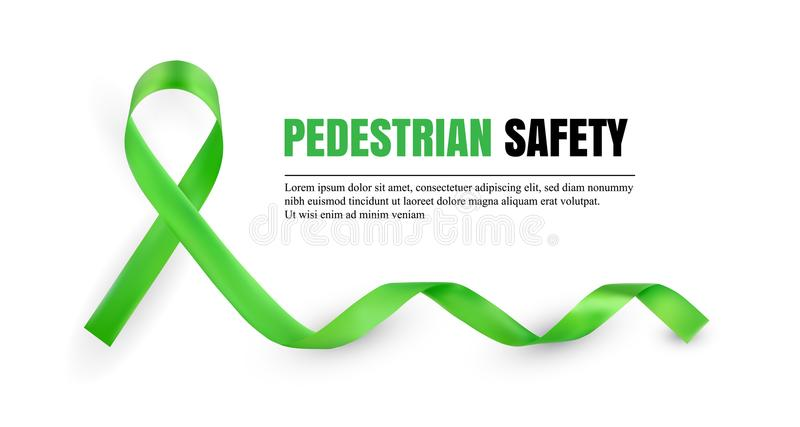 Symboliskt band för grön fot- säkerhetsmedvetenhet stock illustrationer