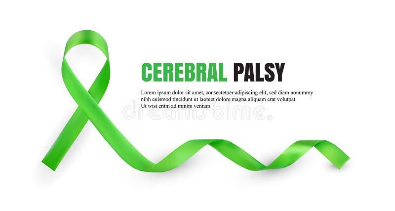 Symboliskt band för grön medvetenhet för cerebral förlamning stock illustrationer