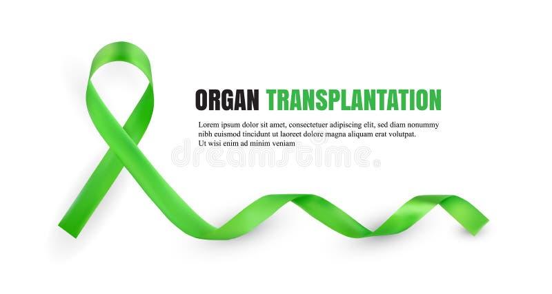 Symboliskt band för grön medvetenhet för organdonation vektor illustrationer