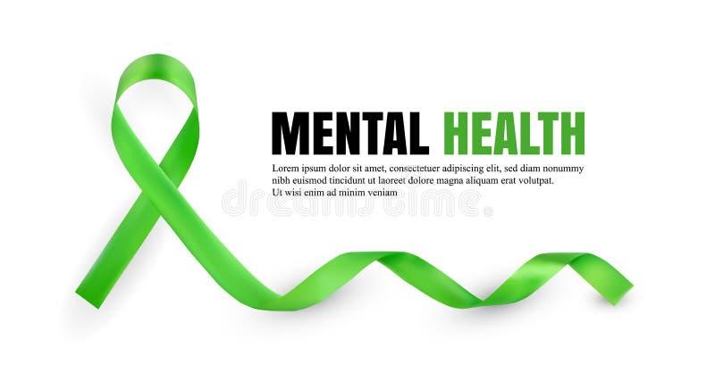 Symboliskt band för grön mental hälsamedvetenhet royaltyfri illustrationer