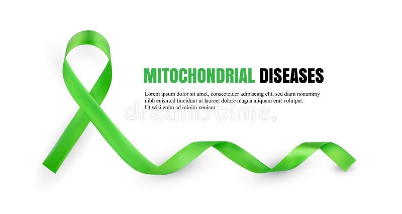 Symboliskt band för grön Mitochondrial sjukdommedvetenhet royaltyfri illustrationer