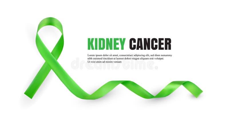 Symboliskt band för grön njurecancermedvetenhet stock illustrationer