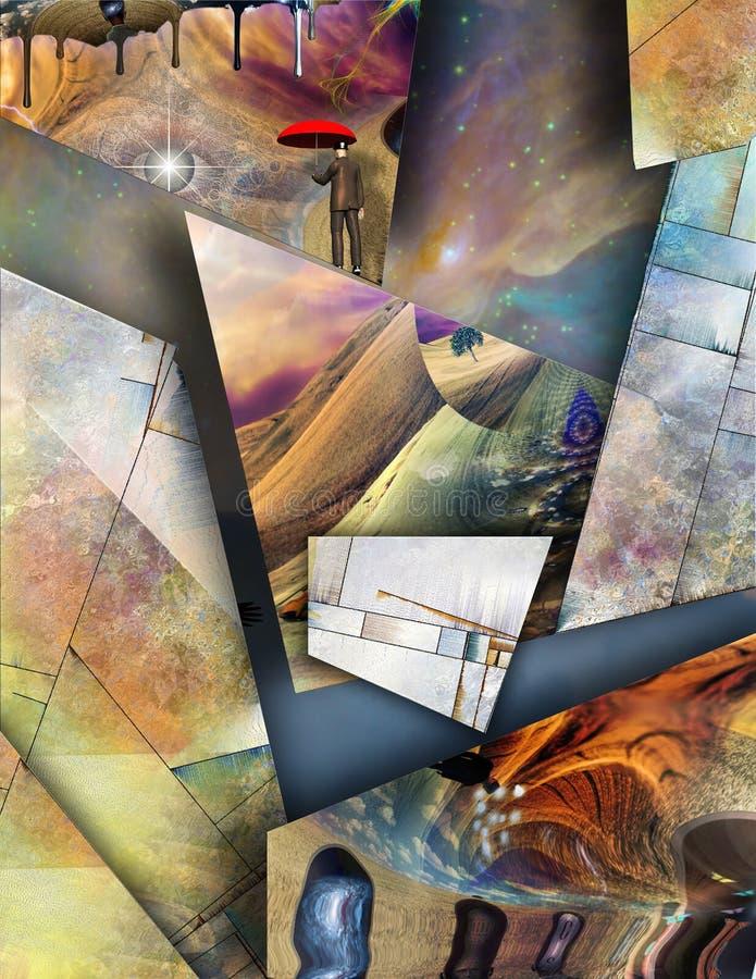 Symboliskt dimensionellt abstrakt begrepp stock illustrationer