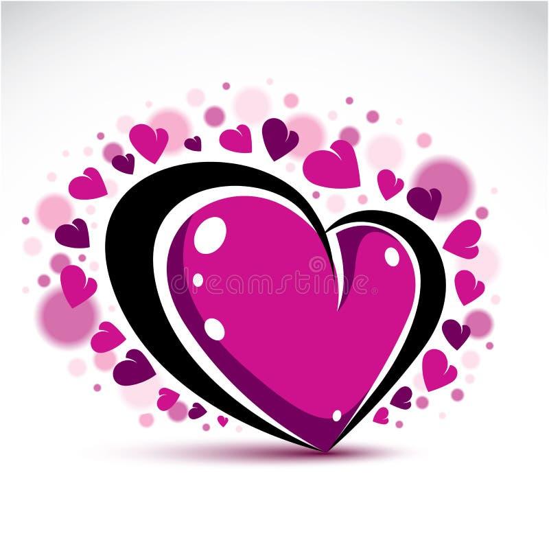 Symboliskt objekt för förälskelse och för romans, dimensionell dekor för purpurfärgad hjärta stock illustrationer