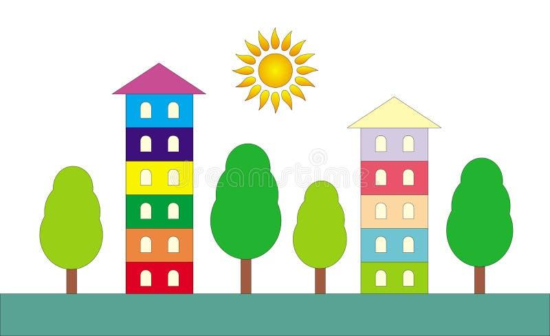 Symboliskt tecknad filmlandskap Färgrika hus och gröna träd royaltyfri illustrationer