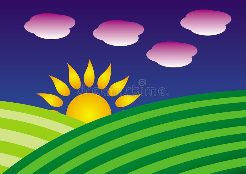 Symboliskt tecknad filmlandskap Två gröna kullar och resningsol mot den blåa himlen royaltyfri illustrationer