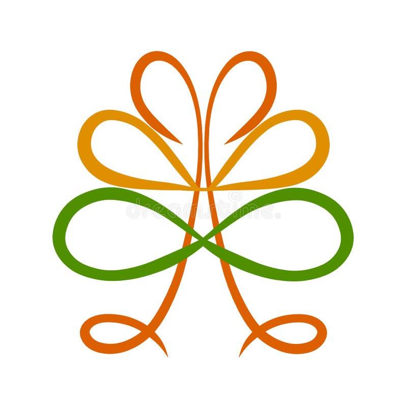 Symboliskt träd med symbolet av oändligheten och hjärtor stock illustrationer