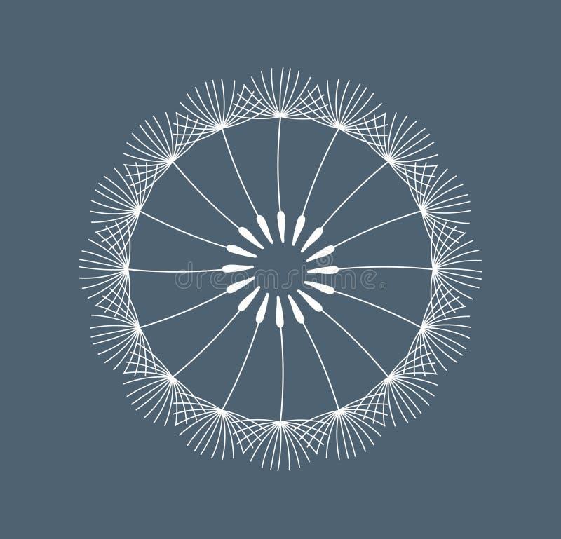 Symboliskt vitt maskrosblommafrö på mörkt - blå bakgrund vektor illustrationer