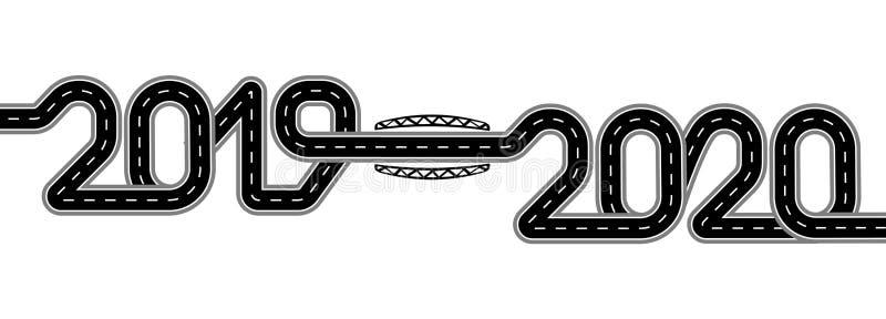 2019-2020 Symbolizuje przemianę nowy rok Droga z ocechowaniami stylizuje jako inskrypcja odosobniony ilustracja wektor