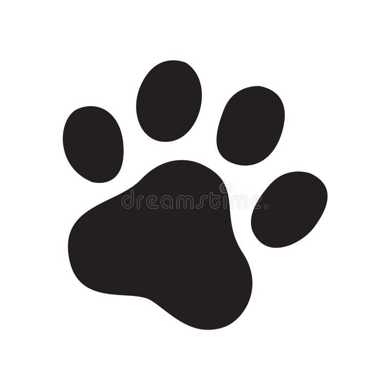 Symbolkarikaturzeichenillustrations-Gekritzelgraphik der französischen Bulldogge der Hundetatzenvektorabdruckikonenlogokatze vektor abbildung