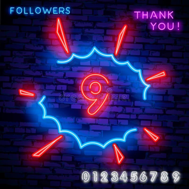 Symbolleuchtreklamevektor der Nr. neun 9., nummerieren Schablone neun Neonikone, helle Fahne, Neonschild, nächtliches helles vektor abbildung