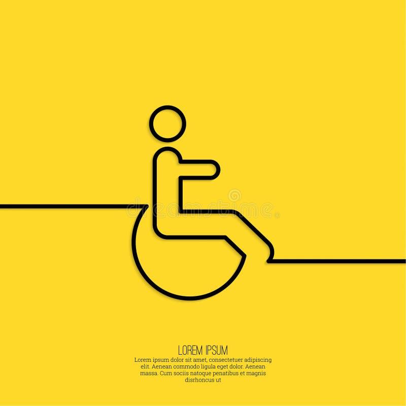 Symbolmann auf dem Rollstuhl stock abbildung
