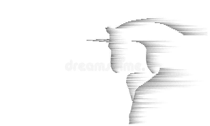 Symbolpferdeeinhornreiten des grauen Weiß einfarbiges Mondlicht Mythos des kreativen magischen Hintergrundhorns der Dekoration fe stock abbildung