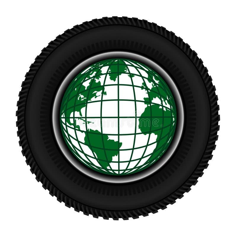 Symbolradreifen und Planetenerde stock abbildung