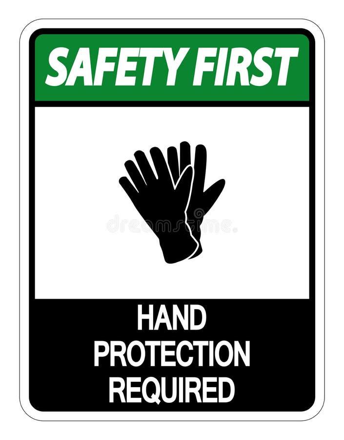 symbolsäkerhet först - att räcka det skydd krävda tecknet på vit bakgrund royaltyfri illustrationer
