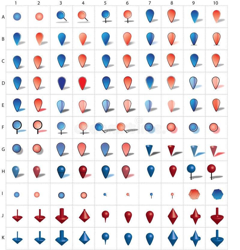symbolsöversiktsstift stock illustrationer