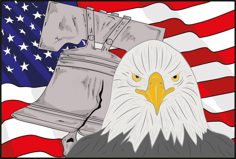 Symbols Of America The Bell An Eagle And A Flag Vector