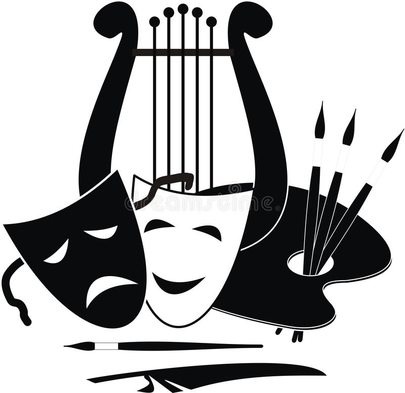 Symbols of arts, music. and theater. Lyre, palette and masks - symbols of music. arts and theater - vector isolated black illustration on white background stock illustration