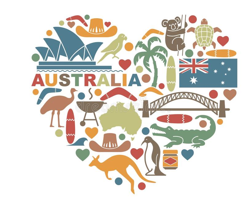 Symbols Of Australia In The Shape Of A Heart Stock Vector