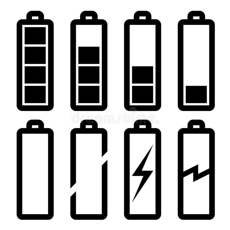 Symbols of battery level. Illustration for the web royalty free illustration