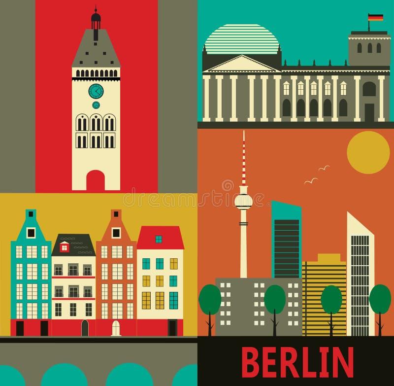 Berlin city. Symbols of Berlin. Vector illustration stock illustration