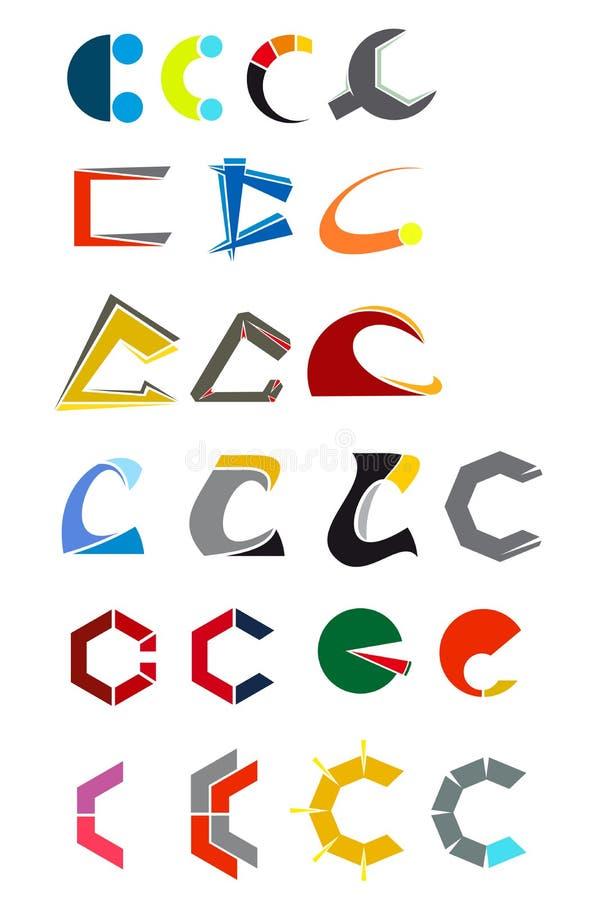 Symbols of C letter stock illustration