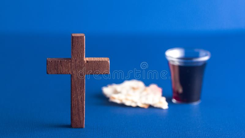 Symbols of Christianity and the Communion stock images