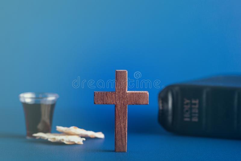 Symbols of Christianity and the Communion stock image
