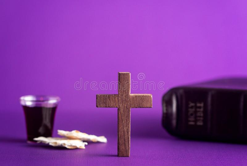Symbols of Christianity and the Communion stock photos